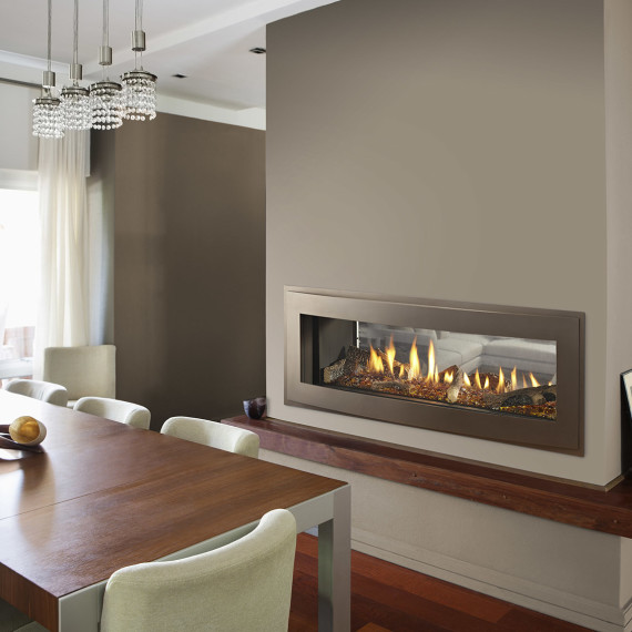 Fireplace in modern house
