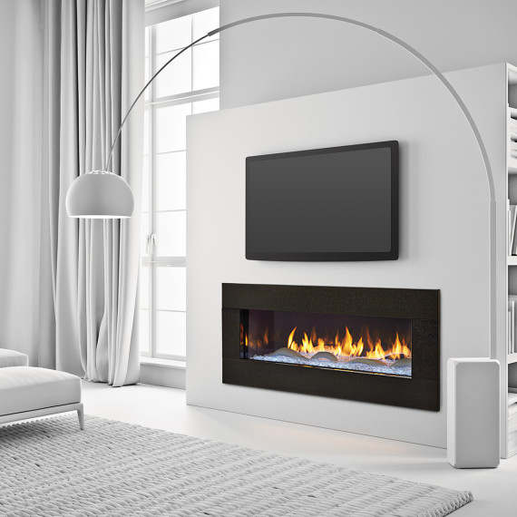PRIMO 48 - Photo (Crystal Glass with The Dunes Modern White Logs, Black Granite Surround, 4C, Low Res)